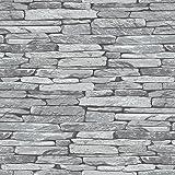 Silver Grey Black Slate Stone Effect Wallpaper - 263144 Windsor Wallcoverings - Modern - Feature