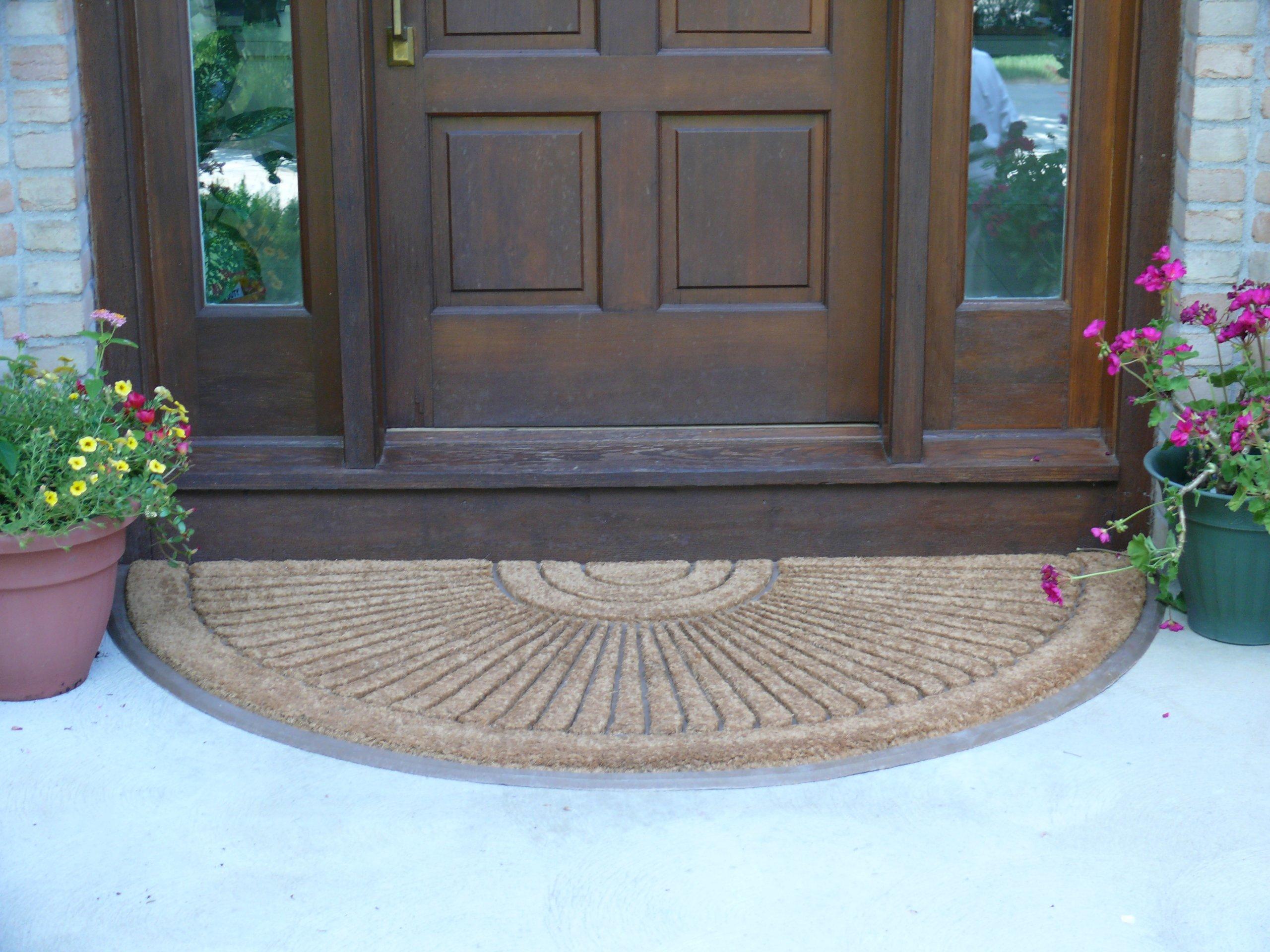 Coco Fiber Half Round In-laid Doormat (3 Feet X 6 Feet)