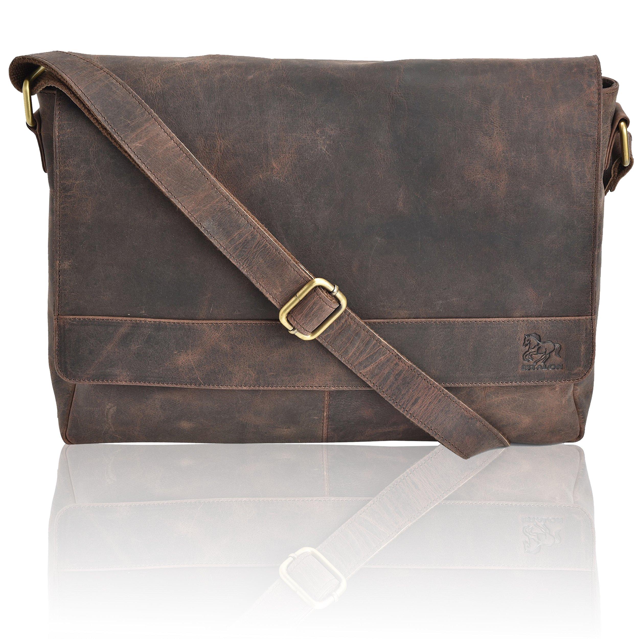 Laptop-Bag for Men and Women - Genuine Leather Multi-Pocket Brown Messenger Bag for 14-Inch Laptop, Side Bag with Inner Foam Padding and Adjustable Shoulder Strap by Estalon