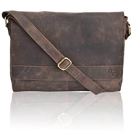 583c51de2de8 Amazon.com: Leather Laptop Messenger Bag for Men - Premium Office Briefcase  16