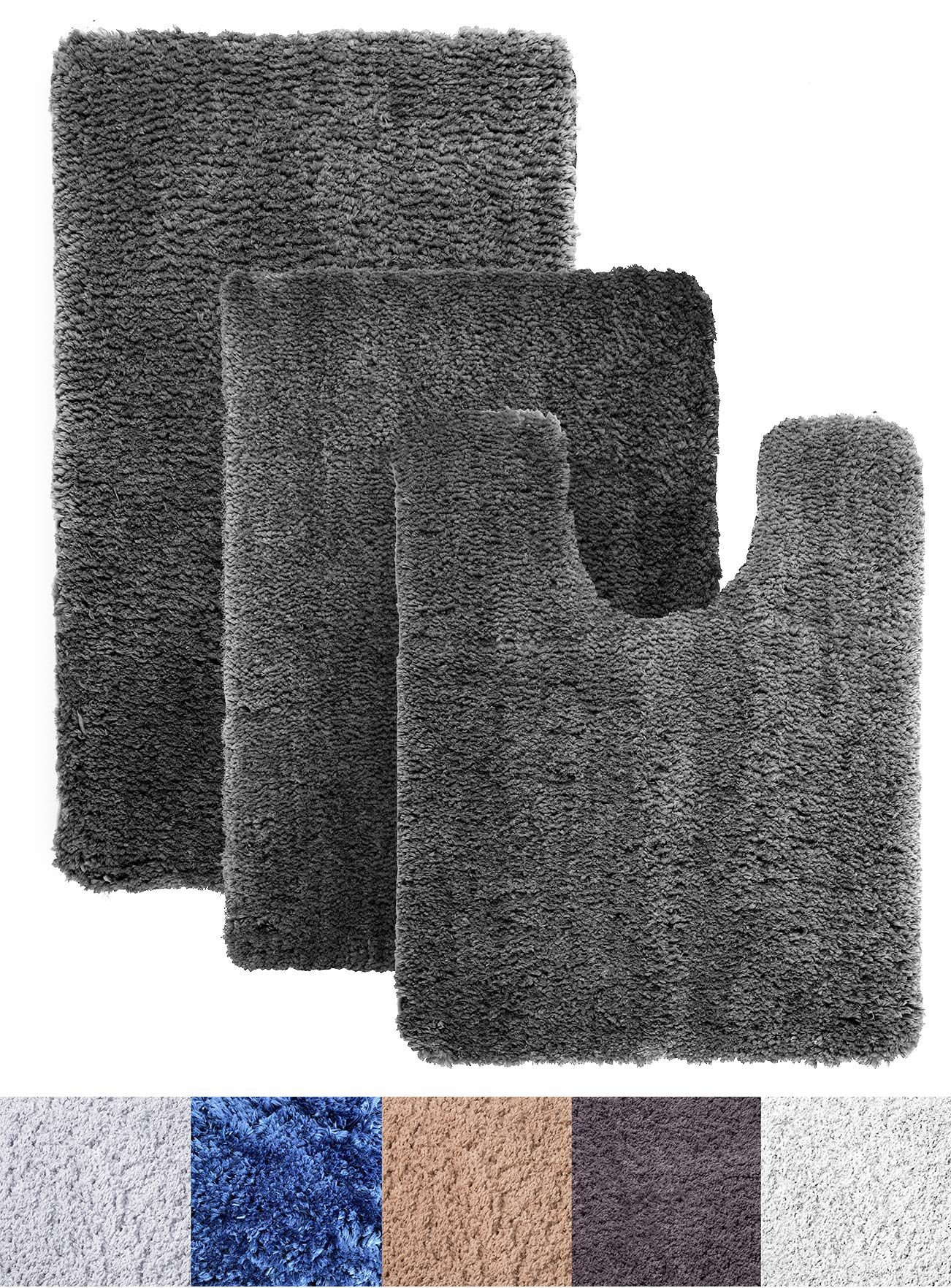 Luxe Rug Dark Gray Plush Bathroom Rugs Bath Shower Mat Set w Non Slip Microfiber Super Absorbent Rug Alfombras para Baños (3, Dark Gray)