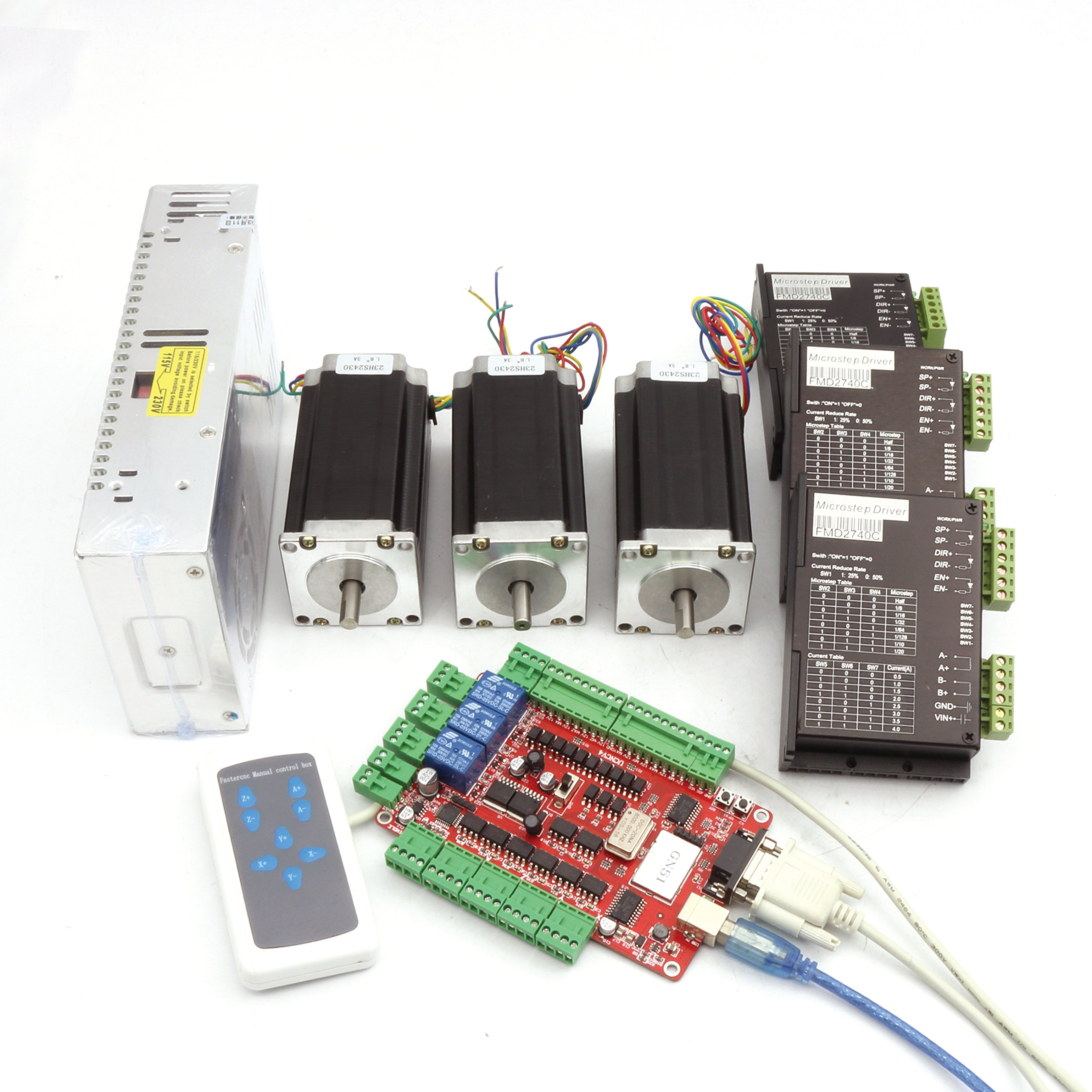 3 Axis CNC Kit Nema23 Stepper Motor (Dual Shaft) 425oz-in 112mm 3A & Driver  40VDC 4A 128 microstep for CNC Router Milling Engraving Machine