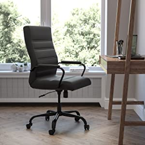 Flash Furniture High Back Desk Chair - Black LeatherSoft Executive Swivel Office Chair with Black Frame - Swivel Arm Chair
