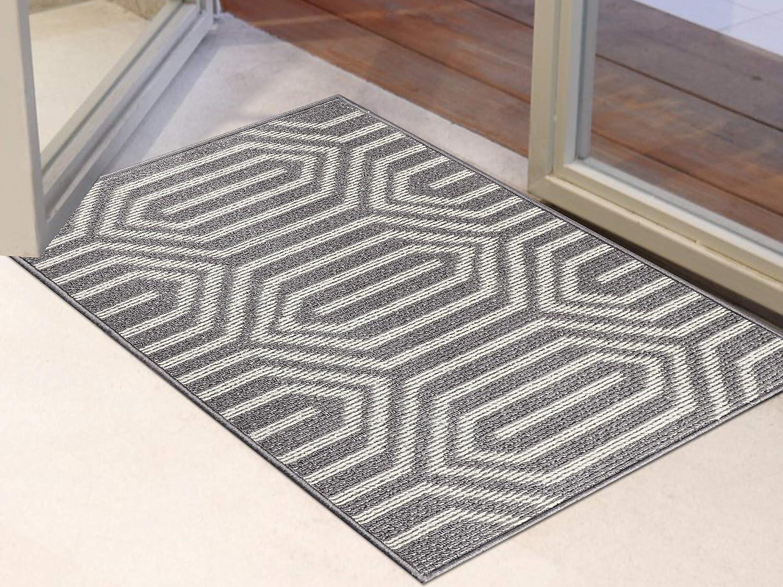 Ivalue Indoor Doormat Front Door Mat Washable Rubber Backing Super Absorbent Mud Water Dirts Trapper Mat Entrance Floor Rug Pet Mat Rug(24