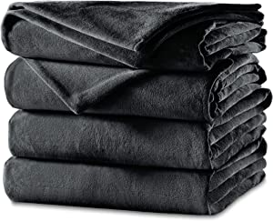 Sunbeam Heated Blanket | Velvet Plush, 10 Heat Settings, Slate, Twin - BSV9GTS-R825-12A44