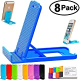 Honsky Multi-angle Adjustable Foldable Plastic Mobile Stand for Apple iPhone 6 plus, 6, 5, 5S, 5C, 4, 4S, 3G, Samsung Galaxy S6 Edge S5, Galaxy Note 4,3, Pack of 8 (Multi-Color)