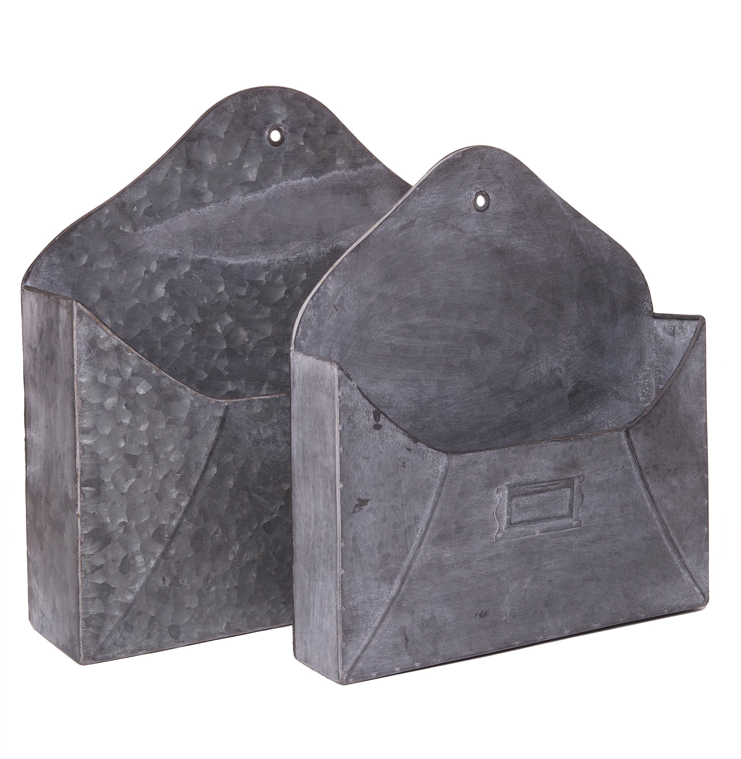 Rustic Galvanized Metal Wall Pocket, Wall Mounted Decorative Storage Bin, Set of 2 Sizes, 11-inch & 13-inch