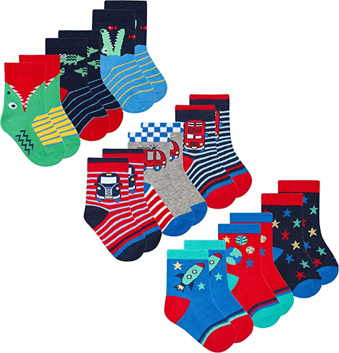 9 Pairs Multipack Low Cut Cotton Rich Ankle Design Infant Baby Boys Socks