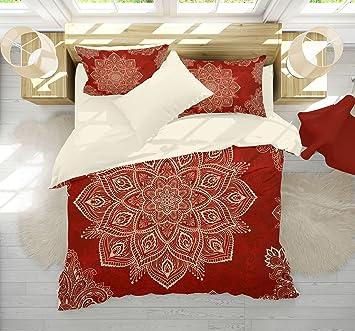 Red Mandala Bedding, Bright Red And Cream Beige Mandala Bedding, Boho  Mandala Comforter Set