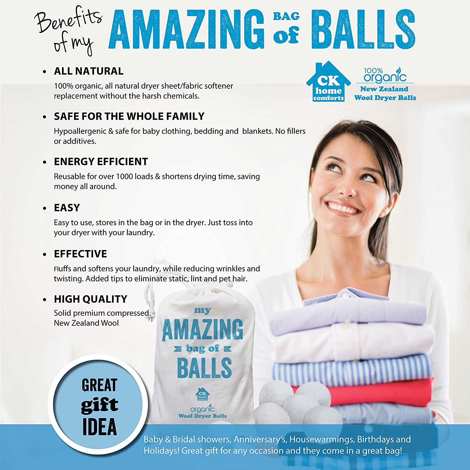 Amazon.com: Wool Dryer balls, 6 XL, Premium Organic New Zealand Wool,  Reusable All Natural Fabric Softener. Baby Safe, Reduces Wrinkles, Softens  Clothing ...