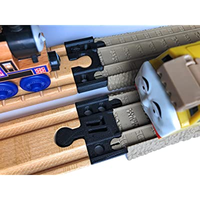 TrainLab Adapters Compatible with Trackmaster (2009 Brown) to Wooden Railway Train Tracks (2pc) (Black): Toys & Games