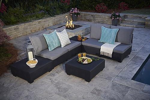 Keter Sapporo Modular Coffee Table Modern All Weather Outdoor Patio Garden Backyard Furniture, Graphite