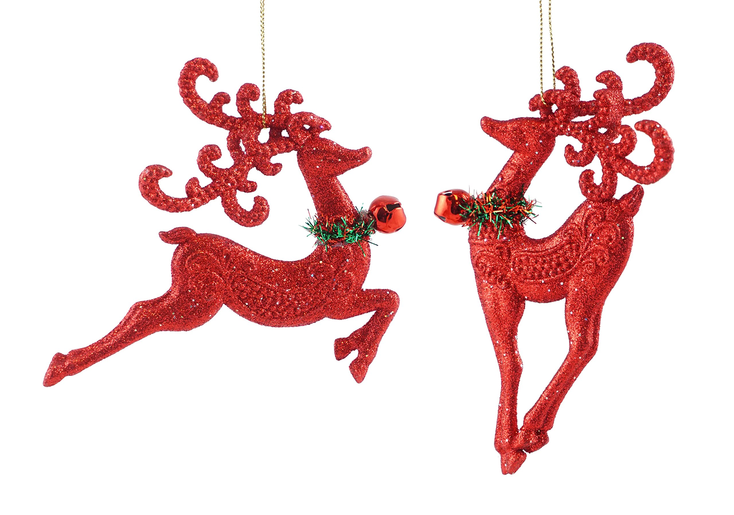 Caffco Prancing Reindeer with Jingle Bell Hanging Christmas Ornament Set
