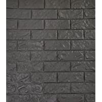 SOOMJ 3D Brick Tile (1-Pack Grey Black) 2.6Ft x 2.3Ft Waterproof Wall Sticker Self-adhesive Panels Decor Decal Wallpaper