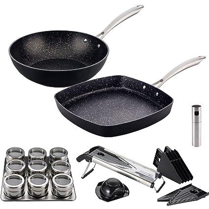 San Ignacio Vita: Set Cocina Sana: Incluye Sartenes: Wok Ø28 y asador 28x28
