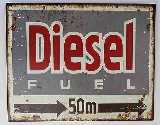 Clever-Deko Cartel de Chapa Diesel 50 Metros Derecho Hobby ...