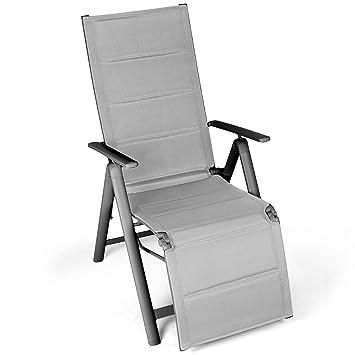 Vanage - Transat de jardin - Chaise pliante avec dossier haut ...