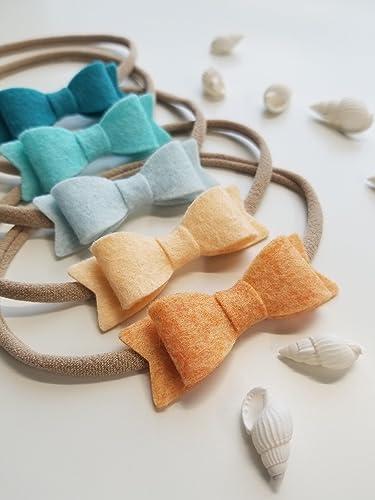 Reversible Alligator Clip Nylon Headband Baby Blue Bow Headband Neutral Baby Hair Clip Girly  Handmade Baby Bow Reclaimed Fabrics