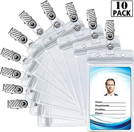 Amazon.com: Soporte para tarjeta de identificación con clips ...