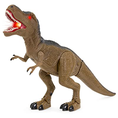 Best Choice Products 21in Kids Walking Tyrannosaurus Rex Dinosaur Toy w/ Light-Up Eyes, Sounds - Brown: Toys & Games
