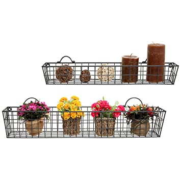 Set Of 2 Gray Country Rustic Wall Mounted Openwork Metal Wire Storage  Basket Shelves / Display