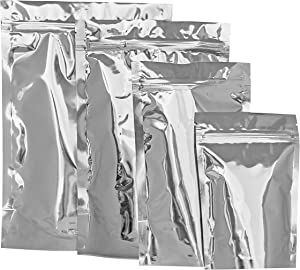 Mylar bags for food storage, 20 Pieces Aluminum sealable ziplock bag, Good for Food, Beans, Grain, Airtight sealing mylar bag 4 sizes aluminum foil bags, (4x6 5x8 6x9 7x10)