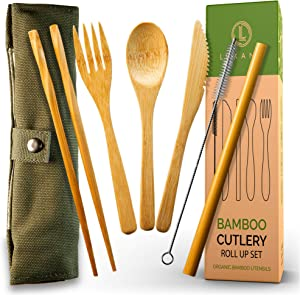 Bamboo Cutlery and Reusable Utensils with Case. Travel Cutlery Set and Reusable Silverware Set To Go. TSA-Safe Reusable Cutlery Travel Set Contains Eco-Smart Reusable Bamboo Utensils