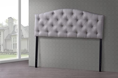 Baxton Studio Wholesale Interiors Myra Modern and Contemporary Fabric Upholstered Button-Tufted Scalloped Headboard