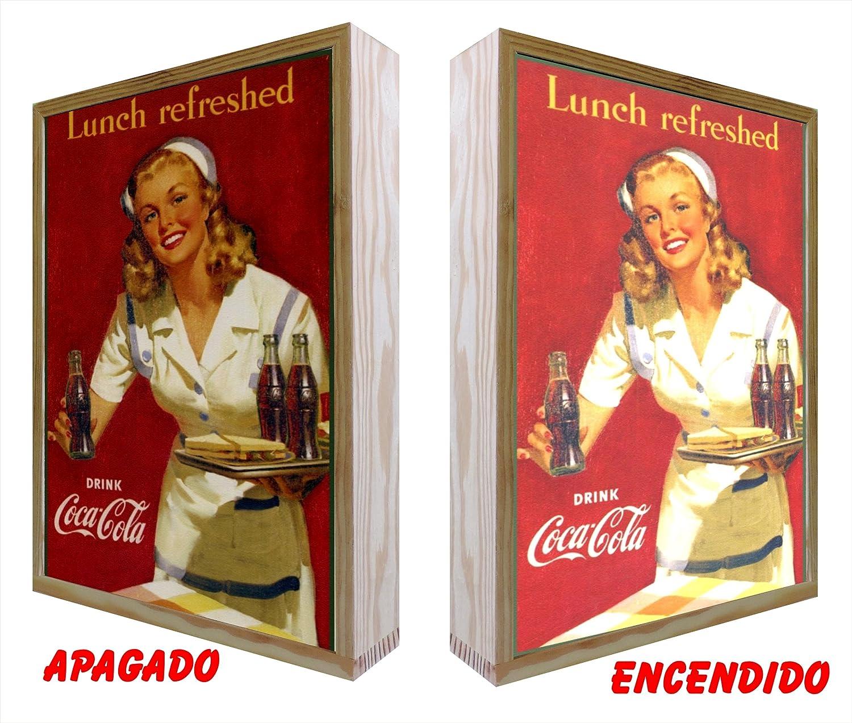 CCRETROILUMINADOS Cartel Vintage de Madera Iluminados. Coca ...