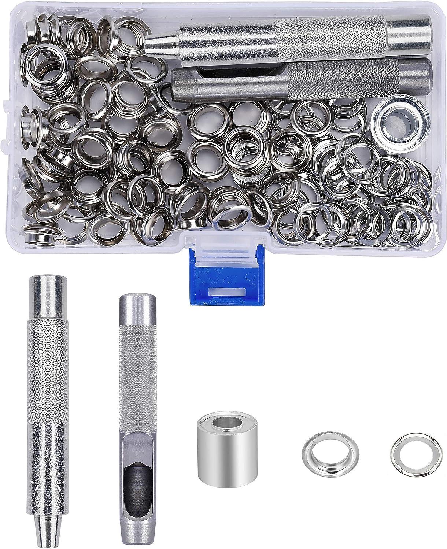 Herramienta de Ojetes 10mm Kit de Arandelas de Metal de Ojales con Herramienta de Perforación para Lonas Toldos Cuero Cortinas 100 Pcs