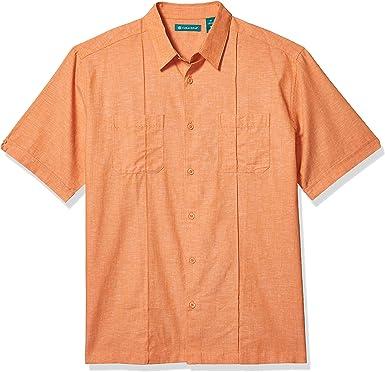 Cubavera Mens Two-Pocket Pintuck Short Sleeve Shirts