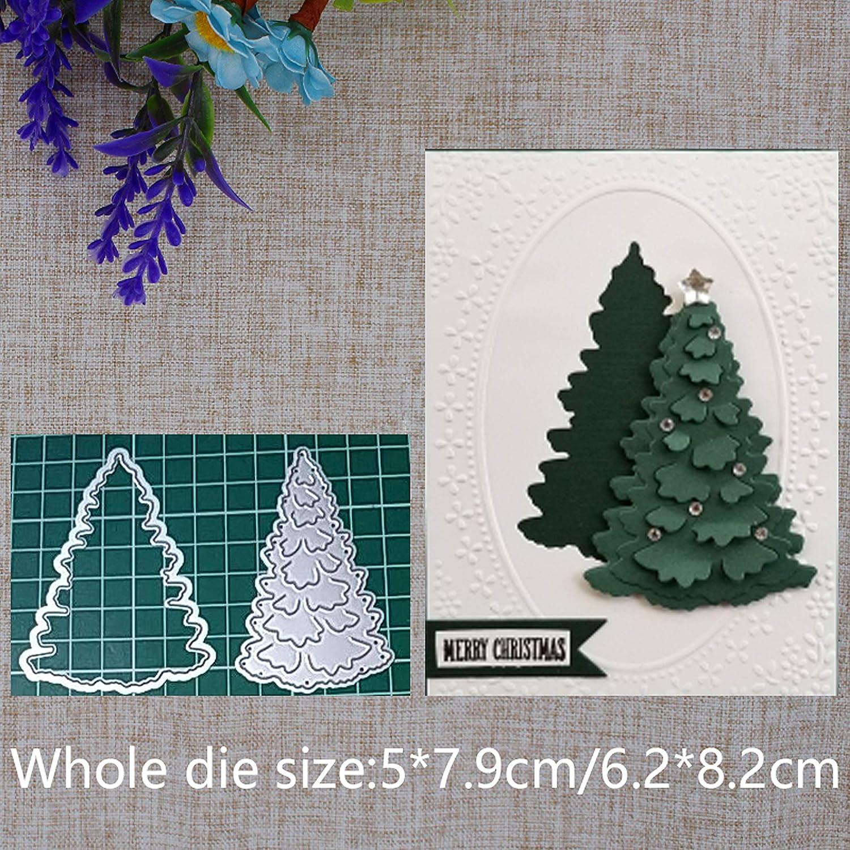 Christmas Tree Metal Die Cuts,Merry Christmas Tree Snow Cutting Dies Cut Stencils for DIY Embossing Photo Decorative Paper Dies Scrapbooking Card Making