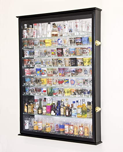 Superbe XL Shot Glass Display Case Rack Holder Cabinet W/ Mirror Backed And 11 Glass  Shelves