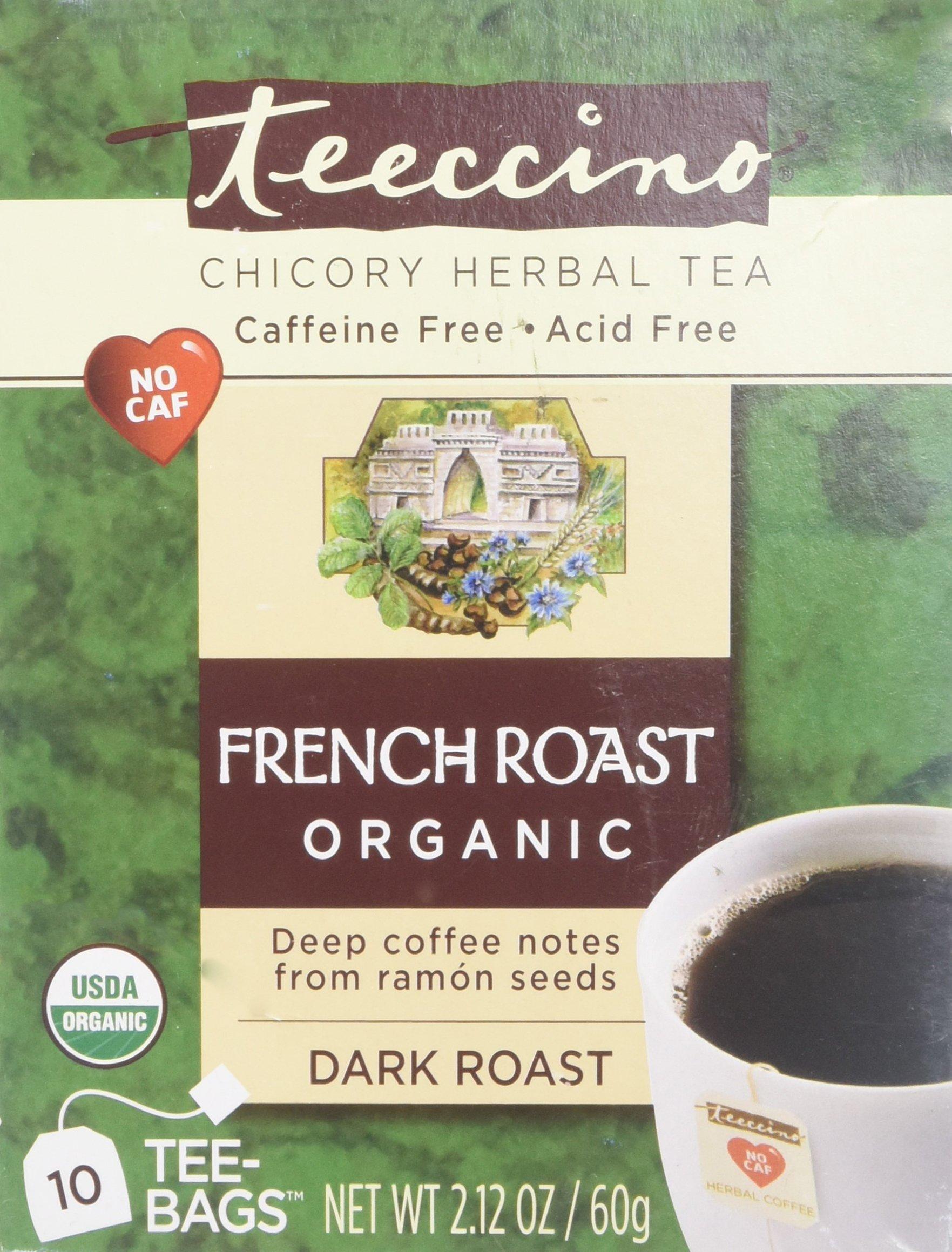 Teeccino French Roast Organic Chicory Herbal Tea Bags, Caffeine Free, Acid Free, 10 Count