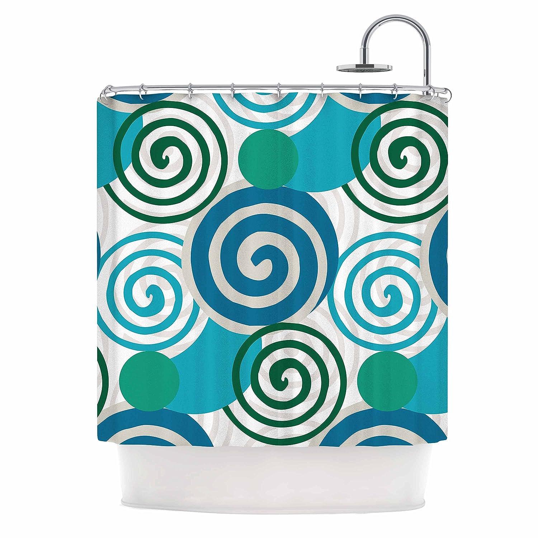 Kess InHouse Patternmuse Dynamic Swirls Blue Teal Digital 69 x 70 Shower Curtain