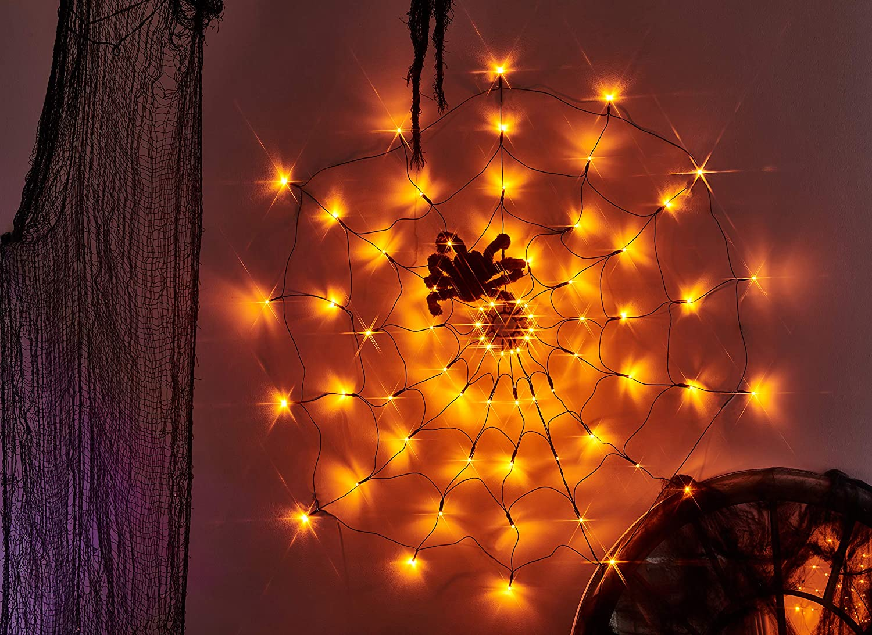 Vanthylit 3.25FT Diameter 70LED Halloween Spider Web Lights Orange Lights with Black Spider for Halloween Indoor and Outdoor Decor