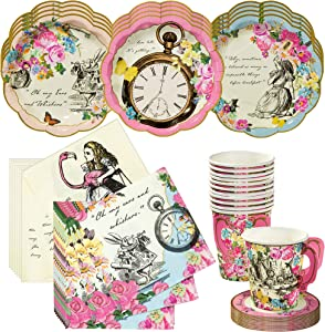 Talking Tables Alice in Wonderland Tea Party Set | Designer Mad Hatter Tea Cups and Saucer Sets, Alice Party Plates and Napkins | Perfect for Weddings, Birthday, Bridal Shower and Tea Parties
