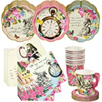 Talking Tables Alice in Wonderland Tea Party Set   Designer Mad Hatter Tea Cups and Saucer Sets, Alice Party Plates and…