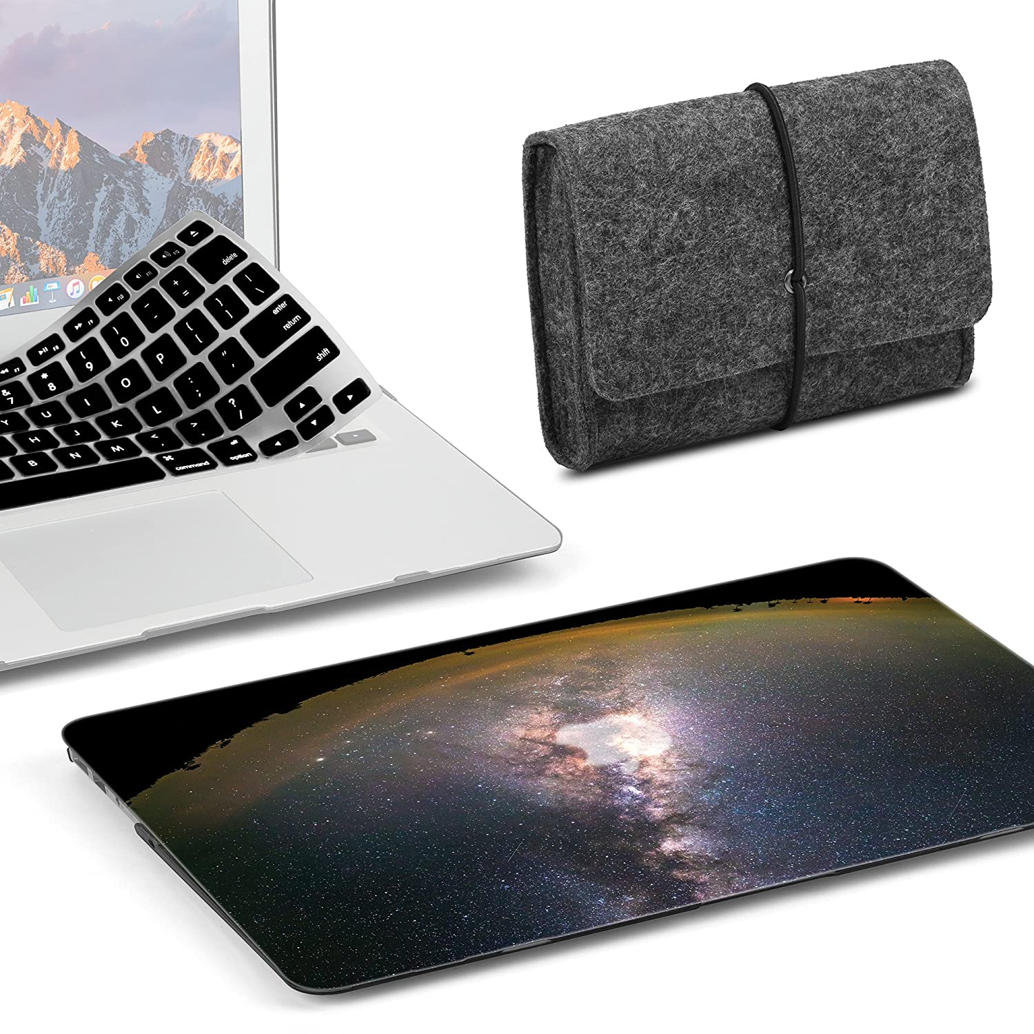 GMYLE 3 in 1 Bundle Felt Storage Pouch Bag & White Marble Soft-Touch Matte Plastic Hard Case with Black Keyboard Cover for MacBook Air 13 inch (Model: A1369/A1466) NPL530072