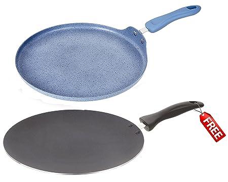 Nirlon Non-Stick Aluminium Cookware Set, 2-Pieces, Blue (Rock_FT28_32mm_CT_Free) Pot & Pan Sets at amazon
