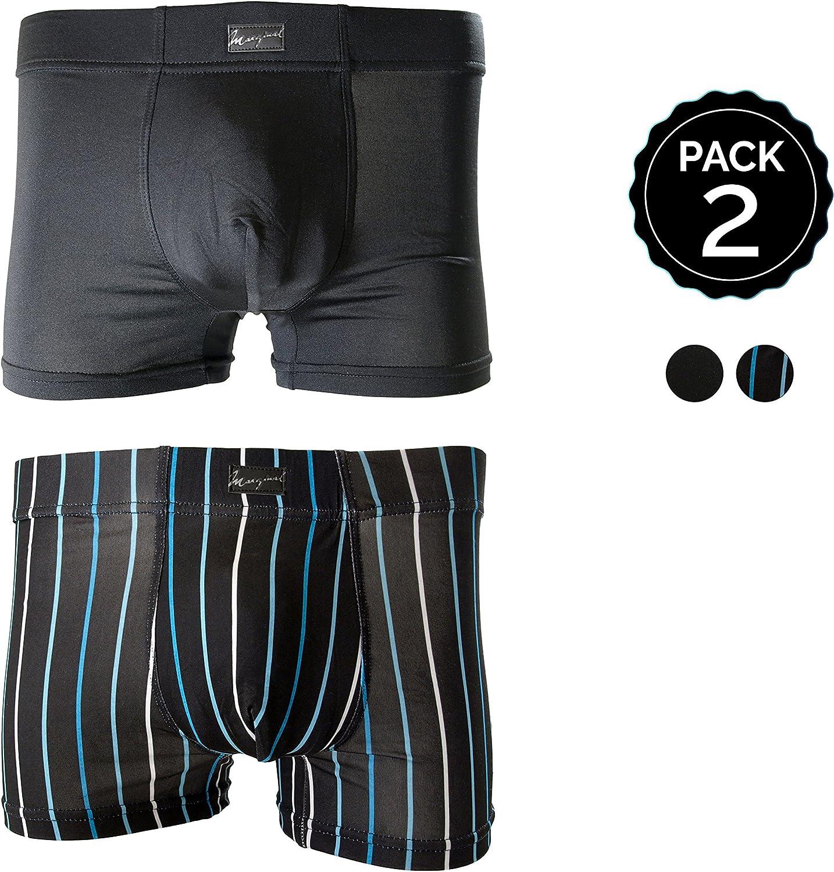 MARGINAL Pack 2 Calzoncillos Color Negro y Blanco para Hombre ...