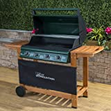 Fire Mountain Elbrus 4 Burner Gas Barbecue in Powder-Coated Steel and Wood - Temperature Gauge, Piezo Ignition, Drip Tray, Wooden Shelves, Free Propane Regulator & Hose