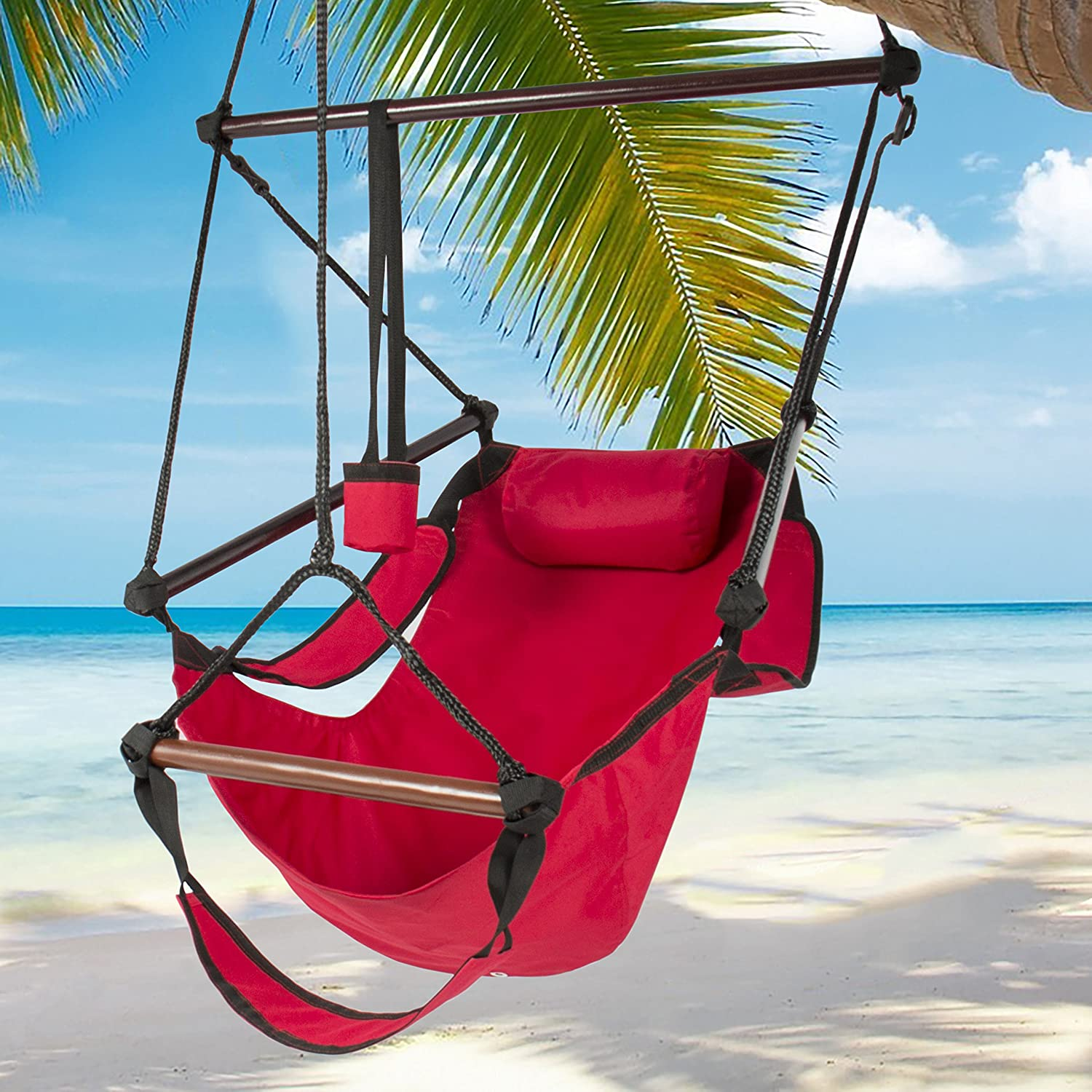Amazon.com: Best Choice Products Hammock Hanging Chair Air Deluxe Outdoor  Chair Solid Wood 250lb Red: Garden U0026 Outdoor