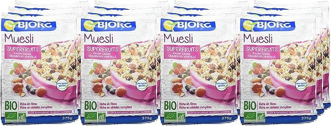 Bjorg Cereales Muesli con Frutos del Bosque, sin Azúcar - Paquete de 12 x 375 gr - Total: 4500 gr: Amazon.es: Alimentación y bebidas