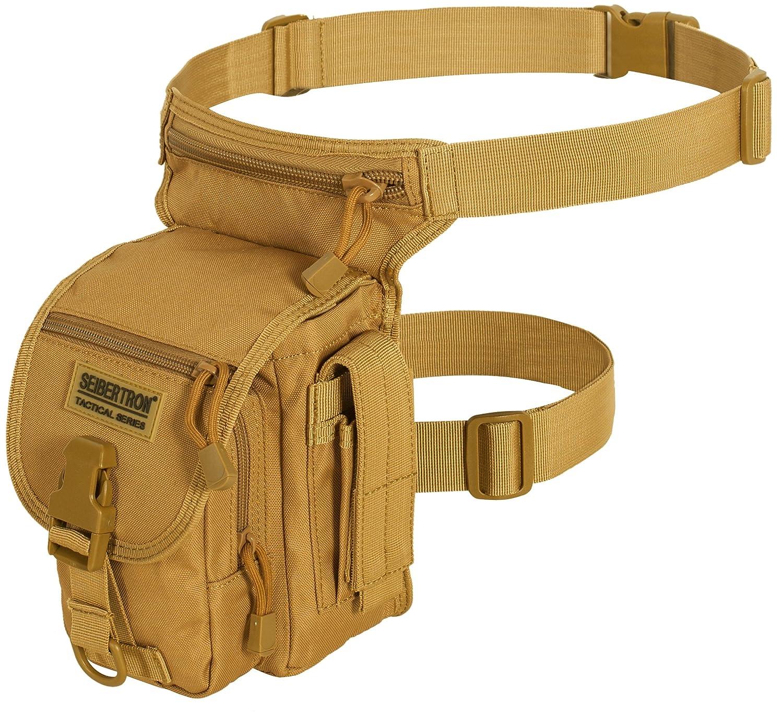 Seibertron Waterproof Airsoft Tactical Drop Leg Panel Utility Pouch Bag Type B Cross Over Leg Rig Outdoor Bike Cycling Hiking Hip/Thigh Bag Black Ltd. tui