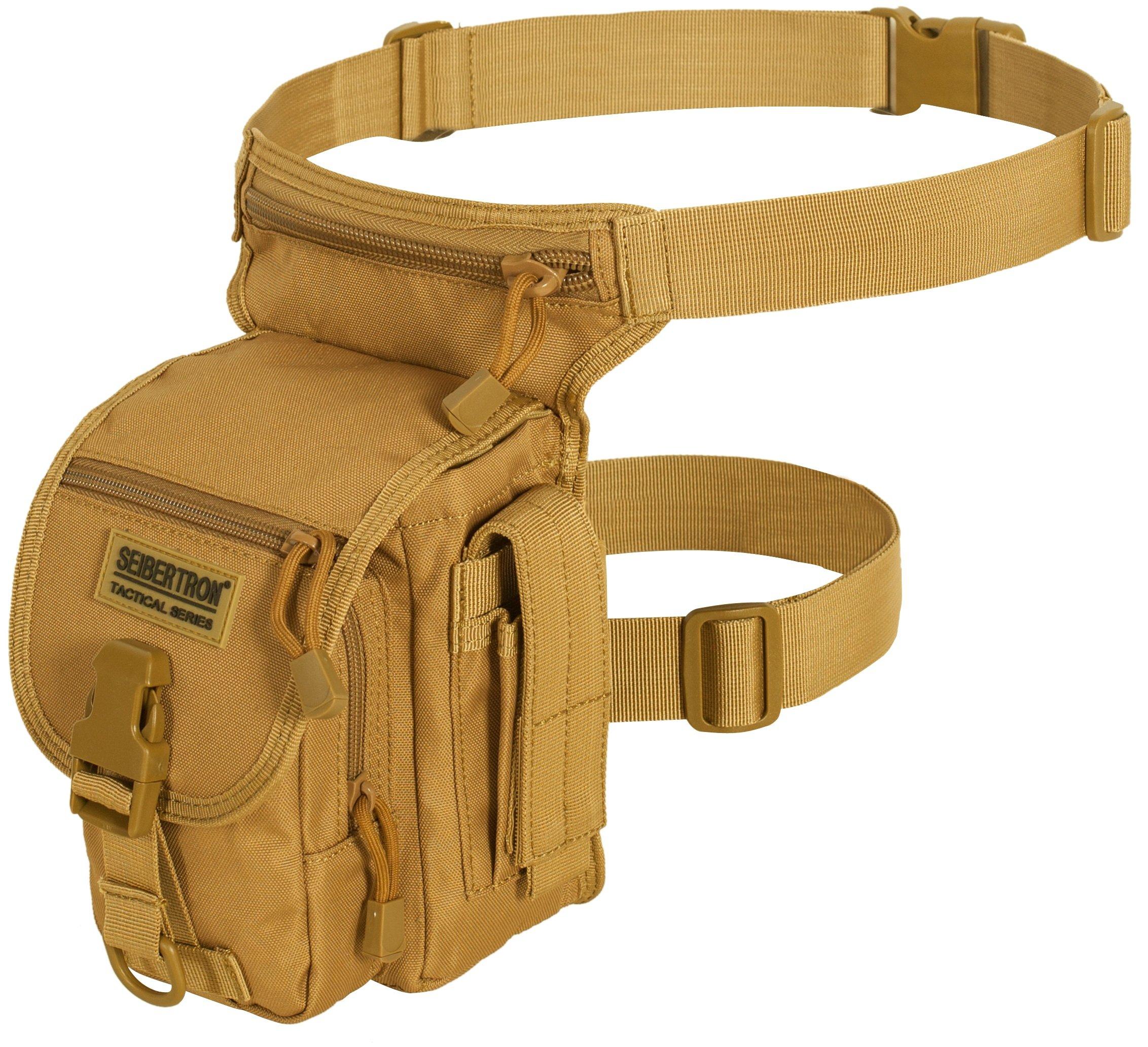 Seibertron Multi-purpose Waterproof Sports Riding Racing Motorcycle Leg Bag Tool Phone Travel Bag Khaki