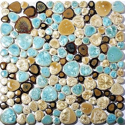 Elegant Pebble Porcelain Tile Fambe Turquoise Green Beige Shower Floor Pool Alley  Tiles Mosaic TSTGPT005 (11