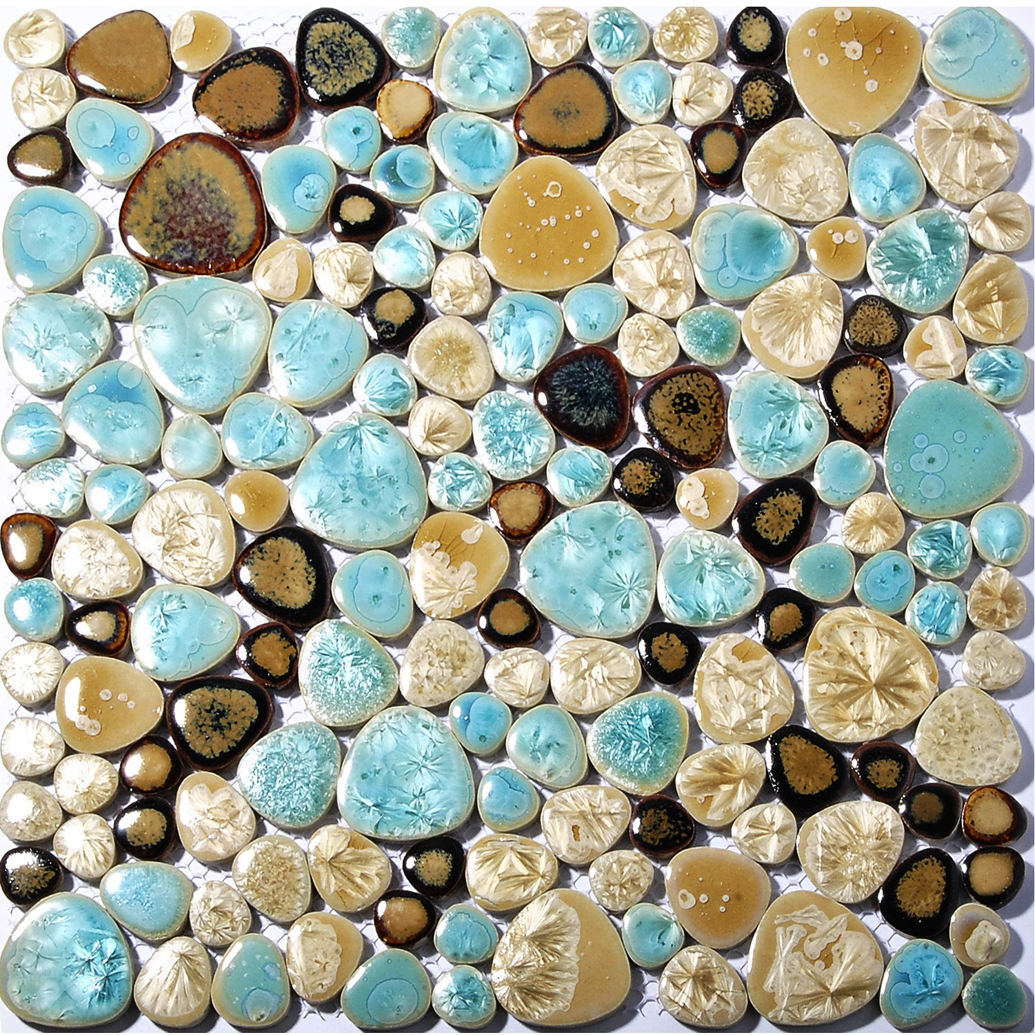 Pebble Porcelain Tile Fambe Turquoise Green Beige Shower Floor Pool Alley Tiles Mosaic TSTGPT005 (11 Square Feet)