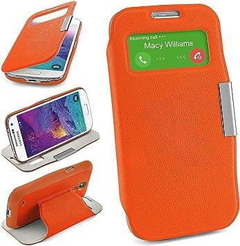 Bolso OneFlow para Funda Samsung Galaxy S4 Mini Cubierta con Ventana | Estuche Flip Case Funda móvil Plegable | Bolso móvil Funda Protectora Accesorios móvil protección paragolpes en Canyon-Orange: Amazon.es: Electrónica