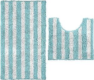 LuxUrux Bathroom Rugs Luxury Chenille 2-Piece Bath Mat Set, Soft Plush Anti-Slip Bath Rug +Toilet Mat.1'' Microfiber Shaggy Carpet, Super Absorbent (Standard, Striped Spa Blue)